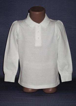 Белоснежное поло с длинным рукавом, реглан george, рост 104-110 см