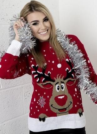 Красный новогодний/рождественский свитерок с оленем