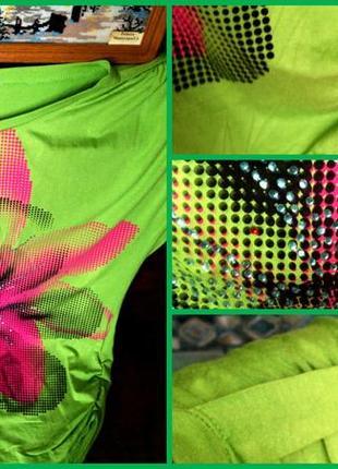Скоро лето!футболка со стразами и рисунком с эффектом 3d салатового цвета1(турция.)