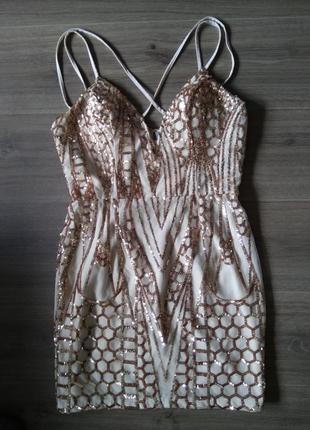 Платье в пайетки нарядное праздничное размер л 12