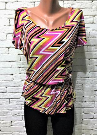 Яркая блуза с баской из вискозы