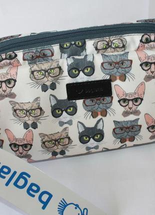 Косметичка, дорожная косметичка, вместительная косметичка, коты