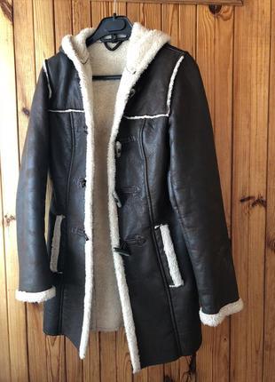 Дубленка куртка шубка парка пальто зима осень кожа длинная теплая