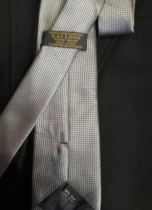 Красивый галстук стального цвета-100% шелк
