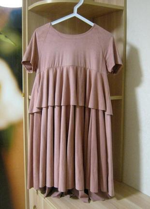 Шикарное замшевое розовое / пудровое платье / платице сонцеклеш / пышное