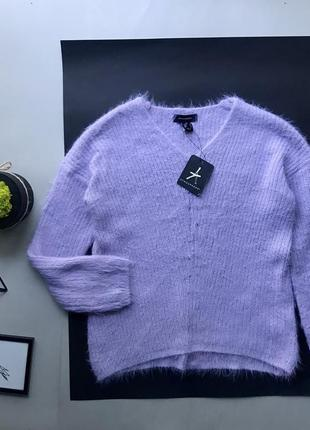 Шикарный фиолетовый сиреневый свитер ангора свитер травка xs