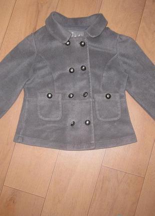 Классный теплый байковый пиджак (пальто)жакет next для девочки 7-9 лет1