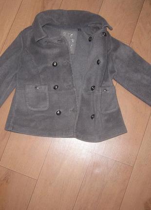Классный теплый байковый пиджак (пальто)жакет next для девочки 7-9 лет4