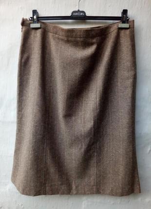 Красивейшая коричневая прямая класическая юбка в елочку peter hahn,большой размер,батл.