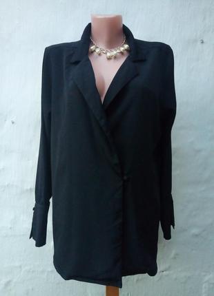 Стильный струящийся черный кардиган на пуговичке свободного кроя,жакет,блуза.