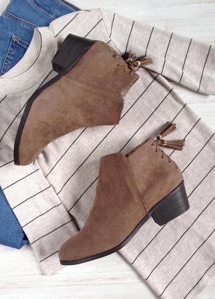 Универсальные полусапоги с кисточками new look 40 р. ботинки сапоги на каблуке