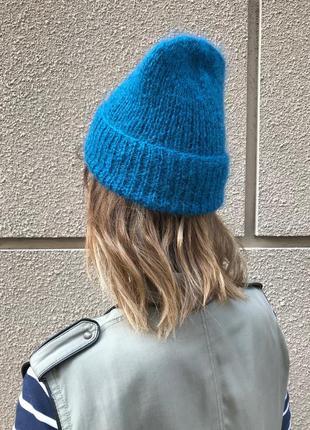 Сине-зеленая/бирюзовая шапка с отворотом