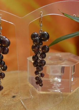 Серьги-грозди из граната ′гранатовые грозди′