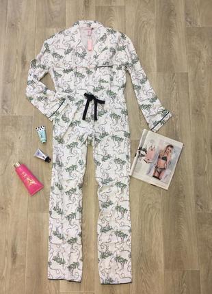Пижама для сна the flannel pj set festive palm trees print от victoria's secret