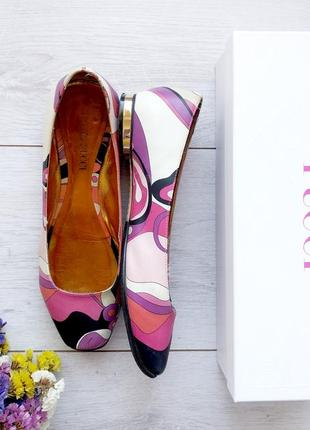 Кожаные туфли балетки emilio pucci 37 37.5 оригинал коробка пыльник