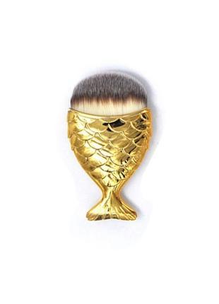 Женская новая кисть для макияжа рыбка, кисть для тональной основе рыбка золотого цвета