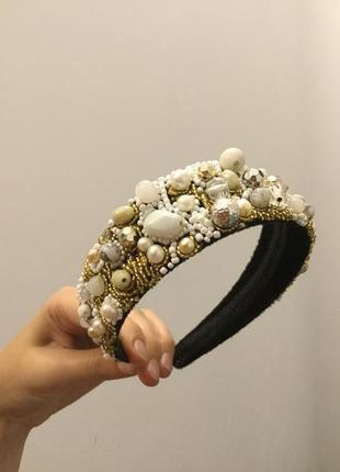 Обруч ободок венок веночек из камней блёсток бисера