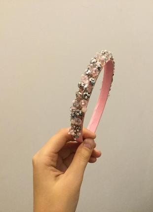 Обруч ободок венок веночек розовый из бисера камней бусин