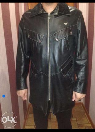 Кожаная курточка френч emporio armani
