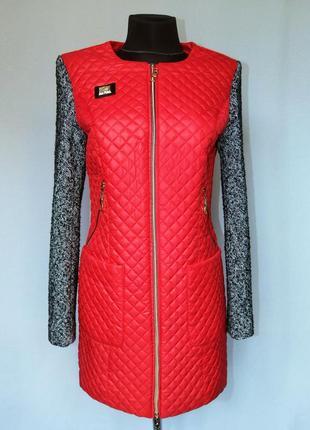 Суперцена. классное комбинированное пальто. стильный фасон. новое, р. s-l