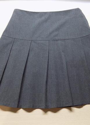 Юбка школьная с утяжкой серая на рост 152-158 см, на 10-12 лет