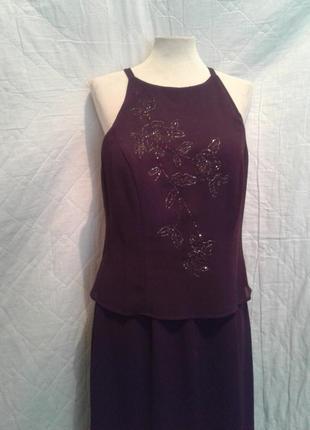 На торжество шифоновый фиолетовый комбинезон- платье, s-m.