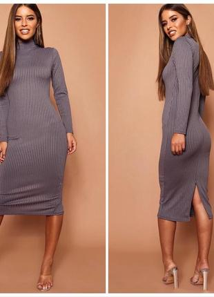 Базова міді сукня шикарного кольору / базовое миди платье гольф  boohoo2