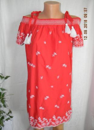 Натуральное платье с вышивкой george