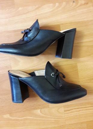 Крутые кожагые  туфли без задников мюлы 24см ,37.5
