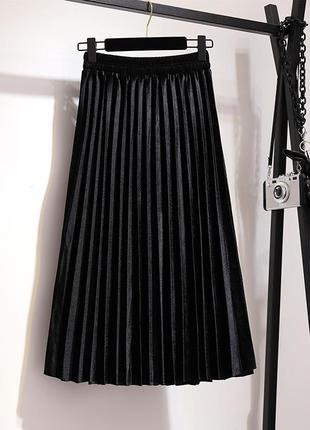 Женская плиссированная длинная юбка бархатная черная