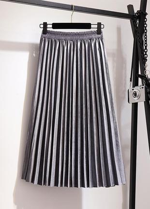 Женская плиссированная длинная юбка бархатная серая