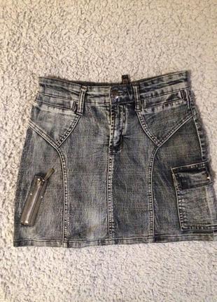 Сіра джинсова спідниця карандаш юбка стрейч big rope