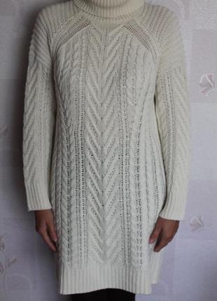 Молочное вязаное платье гольф свитер в косы esmara миди