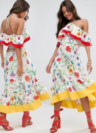 Платье миди asos с открытыми плечами оборками