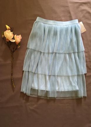 Крутая голубая фатиновая юбка