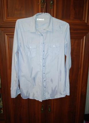 Рубашка небесного цвета в мелкую полоску