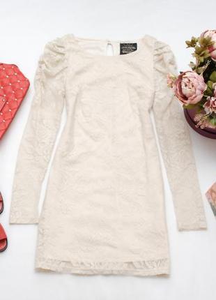 Скидки/закрытие магазина/кремовое гипюровое платье river island 10uk
