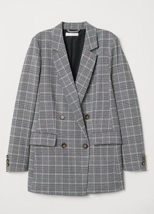 Двубортный новый удлиненный клетчатый пиджак h&m xs стильный серый клетчатый жакет