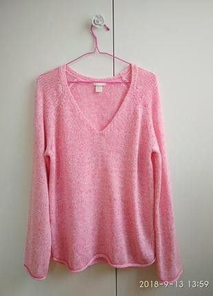 Розовый объемный свитер, оверсайз