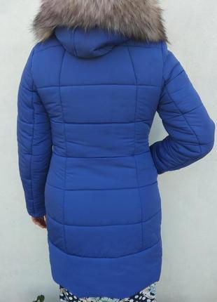 Классная яркая синяя зимняя куртка 44 размер5