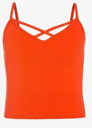 Яркий хлопковый оранжевый кроп топ new look
