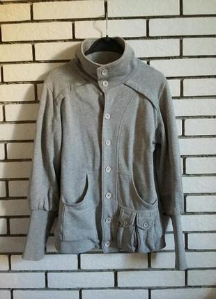 Толстовка кофта джемпер худи свитшот с карманами на пуговицах пиджак коттон