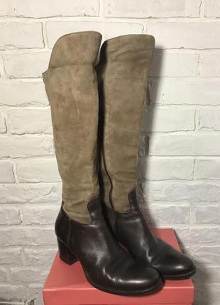 Сапоги длинные демисезонные коричневые кожаные/замшевые замш