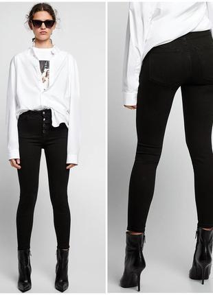 🖤классные базовые джинсы скини стрейч с высокой посадкой на талию 36р