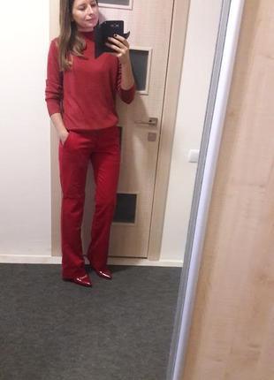Красные брюки клеш zara