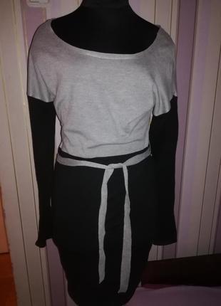Платье серо-черное трикотажное gloria jeans размер s