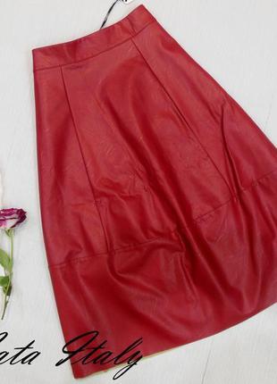 Модная юбка миди, эко-кожа