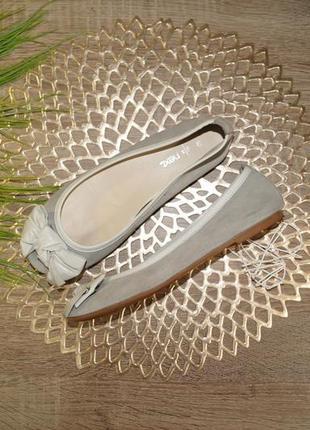 (36р./23см) next! замша! красивые фирменные туфли, балетки на низком ходу с милым бантиком