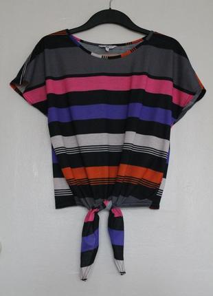 Полосатая футболка оверсайз new look. женская футболка с завязками