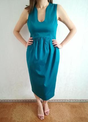 Бирюзовое платье с необычным вырезом asos